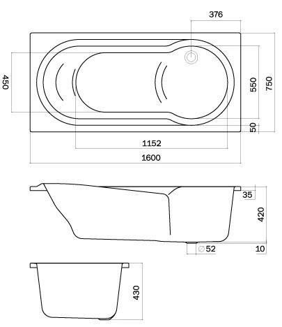 badewanne mit dusche 160 x 75 x 43 cm dusche badewanne badewanne rechteck rechteckwanne 160. Black Bedroom Furniture Sets. Home Design Ideas