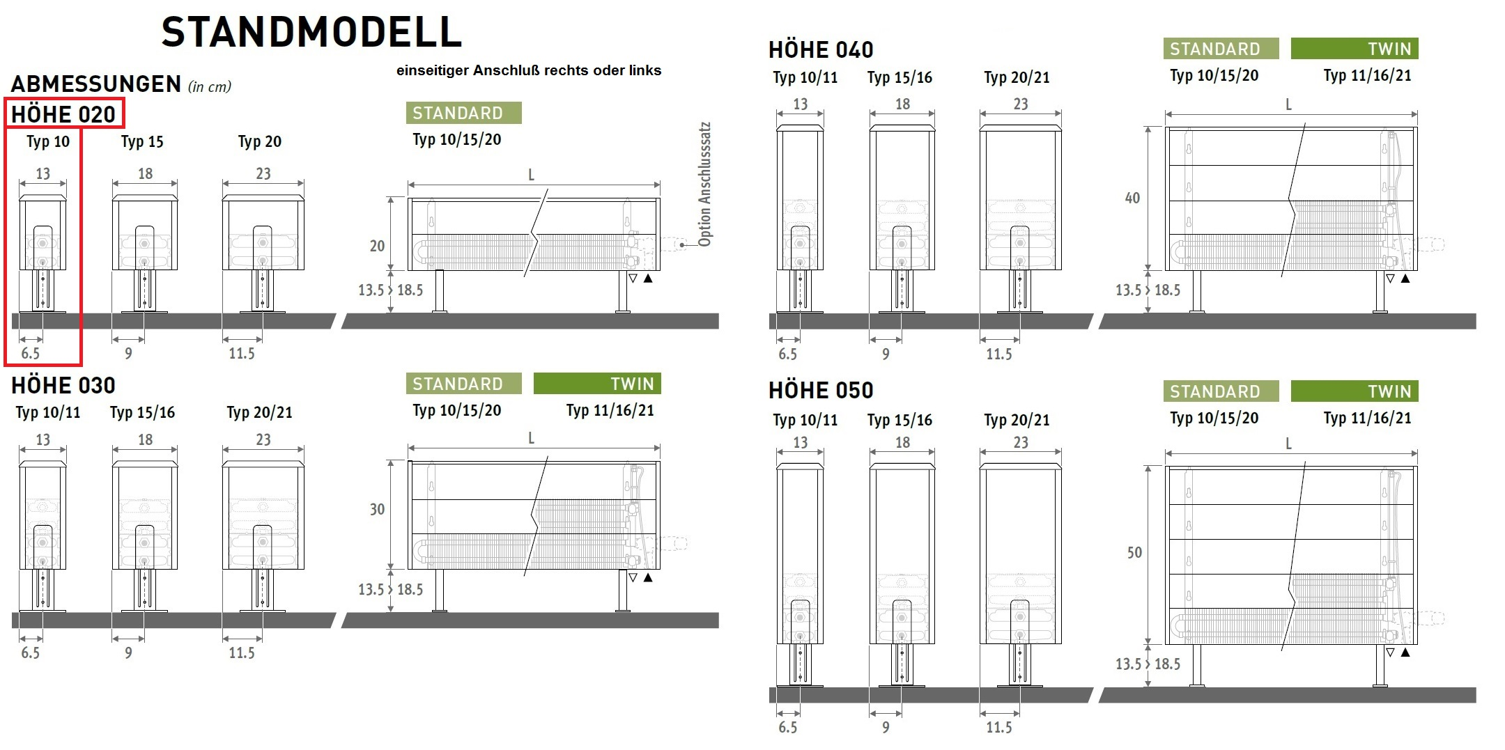 freistehende heizk rper 20 cm hoch standheizk rper f r. Black Bedroom Furniture Sets. Home Design Ideas