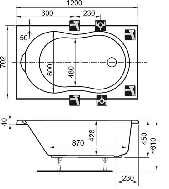 Mini Dusche Ma?e : mini Badewanne 120 x 70 x 45 cm Badewanne Badewanne Rechteck