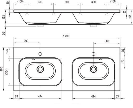 doppelwaschbecken 1200 mm waschtisch. Black Bedroom Furniture Sets. Home Design Ideas